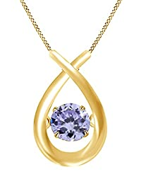 0.35 Carat Solitaire Dancing Tanzanite Pendant Necklace 14k Gold Over Sterling Silver