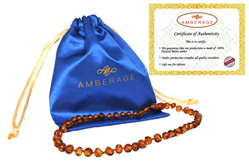 Baltic Amber Baby Teething Necklaces (Unisex) Anti Flammatory, Drooling & Teething Pain Reduce Properties, Certificated Baroque Beads (cognac),Quality Guaranteed