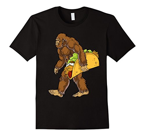 Costume Park Ranger National (Mens Bigfoot Sasquatch Carrying Taco T shirt Funny Camping Gifts Large)