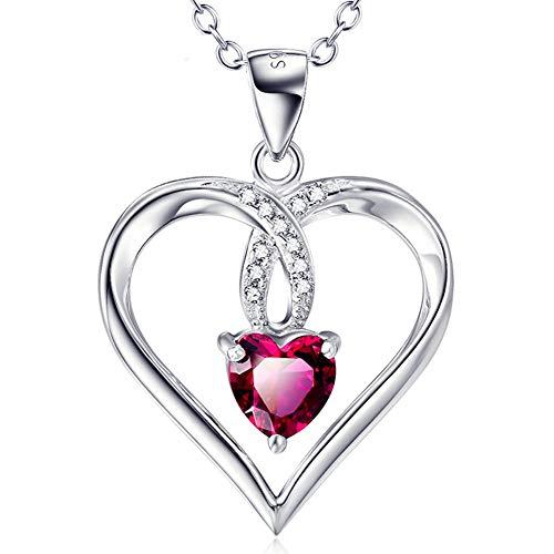 J.Me.Mi Mujer corazón Collar Plata de Ley 925 Cristales Colgante Hermosa joyería de Aniversario Navidad Regalo para Novia