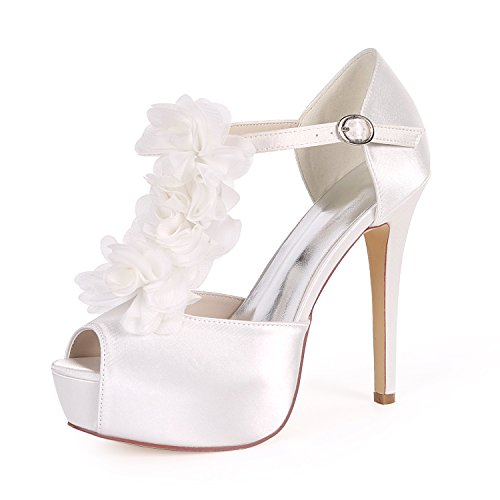 Talon Femmes Mariage Peep Cour Cheville De EU37 White UK4 Boucle Forme 37H Ager Flower 3128 Courroie Toe Soirée Chaussures Plate Satin De Haute qBUWt7c
