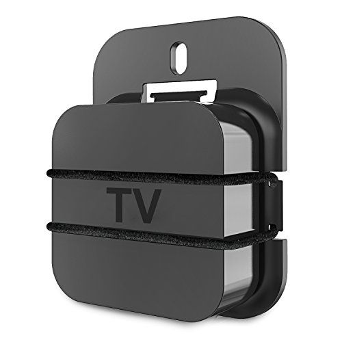 PERLESMITH Universal Streaming Media Player Mount, Wall Mounting Holder Case Stand Bracket for TV Box Compatible with Fire TV Roku3 and More - Mount Back Box