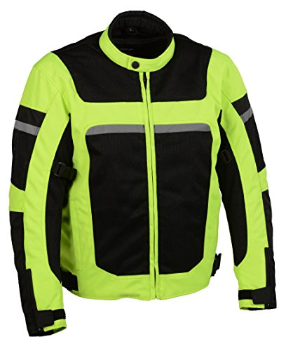 Milwaukee Performance Men's Nylon/Mesh Combo Moto Jacket with Armor (Black/Neon Green, 5X-Large)