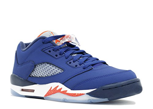 Nike Air Jordan 5 Retro Low GS Kids Basketball Shoes, Deep Royal Blue / Team Orange - Midnight Navy - W, 4.5Y M US (And Nike Orange Elite Socks Navy)