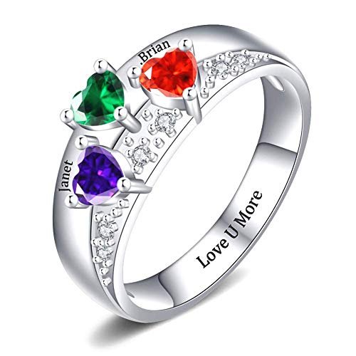 Custom Engraved Family Rings Dainty Anniversary Jewelry Gift for Women Personalized Sterling Silver Mothers Ring with 3 Birthstones