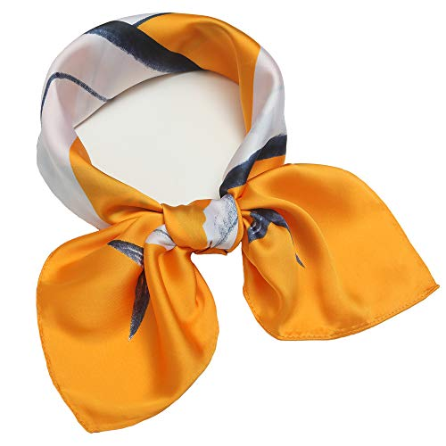 Silk Like Scarf Square Satin Hair Scarf Fashion Fish Lemon Neck Scarfs for Women 27'' x 27'' (Lemon Striped Satin)