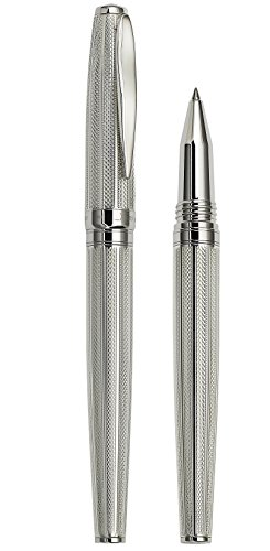 Xezo Solid 925 Sterling Silver Serialized Fine Rollerball Pen with Screw-On Cap (Maestro 925 Sterling Silver R-1) by Xezo (Image #1)