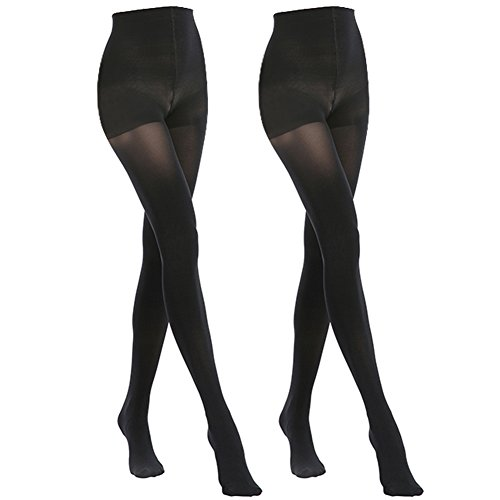 MANZI 2 Pairs Women's Opaque Control Top Tights Comfort Stretch 70 Denier Pantyhose