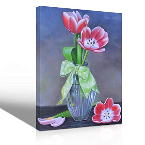 Mon Art Tulip Flower Oil Painting Wall Art Watercolor Hand Painted Lily Petal in Vase Handmade Drawing Decoration for Living Room Bedroom Modern Contemporary Artwork Home Decor Framed,12
