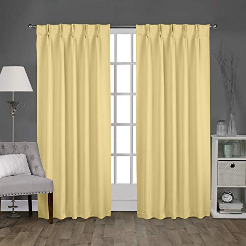 (Magic Drapes Home décor 100% Polyester Double Pinch Pleated Blackout Window Curtain Panels & Drapes and Thermal Insulation Hand Stiched in India (42x45, 2 Panels, Beige))
