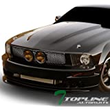 Topline Autopart Matte Black Mesh Front Hood Bumper Grill Grille ABS With Fog Lights Hole For 05-09 Ford Mustang GT