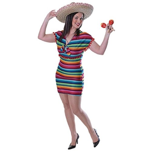 Ladies Mexican Fancy Dress Lady Festival Costume Sombrero COMPLETE OUTFIT (Mexican Fancy Dress Costume)