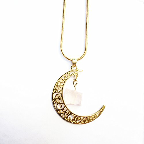 Moon Pendant 18k Gold plated with Pink Stone for Women