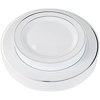 Exquisite Reflective (Silver Line) Plastic Plates-60 Peices Premium Heavyweight Plastic Dinnerware (30- 10.25  Dinner and 30 - 7.5  Salad/Dinner) Wedding ...  sc 1 st  Amazon.com & Amazon.com: Masterpiece Premium Quality Heavyweight Plastic Plates ...