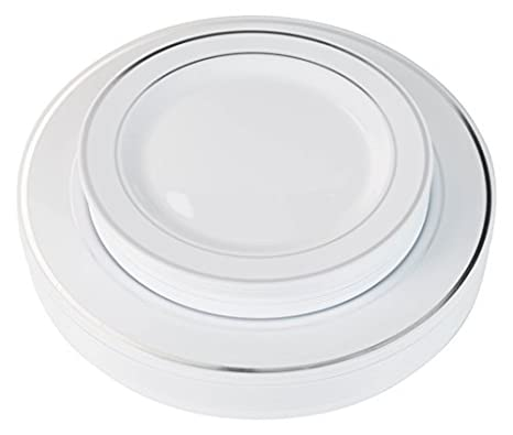 Exquisite Reflective (Silver Line) Plastic Plates-60 Peices Premium Heavyweight Plastic Dinnerware (  sc 1 st  Amazon.com & Amazon.com: Exquisite Reflective (Silver Line) Plastic Plates-60 ...
