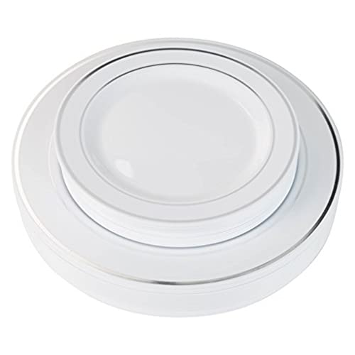 Exquisite Reflective (Silver Line) Plastic Plates-60 Peices Premium Heavyweight Plastic Dinnerware (30- 10.25  Dinner and 30 - 7.5  Salad/Dinner) Wedding ...  sc 1 st  Amazon.com : china looking plastic plates - pezcame.com