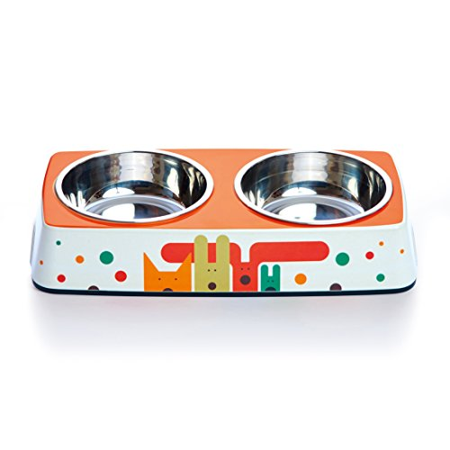 Dylan Kendall 5-1/2-Inch Diameter Bamboo Eco Double Pet Bowl, Pack of Pups (Treads Rubber Pup)