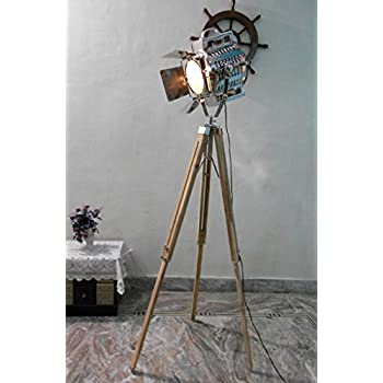 Designer nautical spot light tripod floor lamp searchlight for 1940s hollywood studio floor lamp