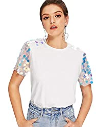 Women's Short Contrast Sequin Mesh Top