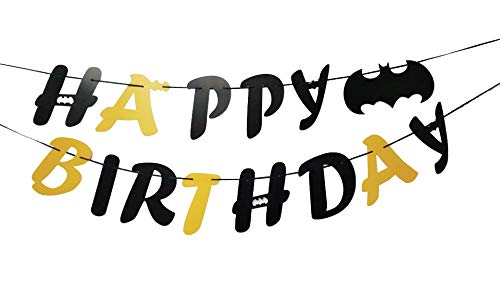 (E&L Black and Gold Batman Happy Birthday Banner, Batman Party Supplies, Batman Themed Party Decorations Kit, Birthday Party Supplies, Batman Happy Birthday)