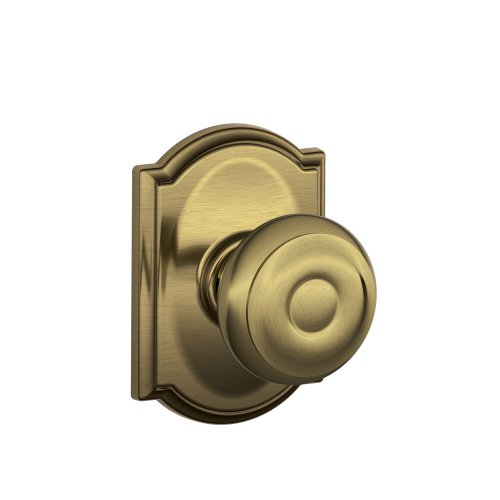 Schlage F10 GEO 609 CAM Camelot Collection Georgian Passage Knob, Antique Brass
