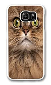 Big Face Brown Cat Polycarbonate Hard Case Cover for Samsung S6/Samsung Galaxy S6 White