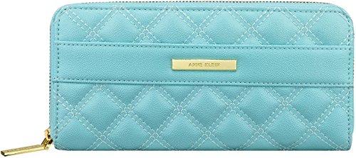 Anne Klein Shimmer Down II Zip Around Wallet, Celeste, One Size
