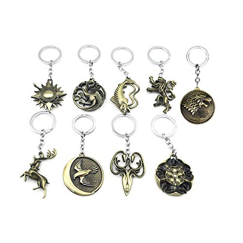 Keychain Game of Thrones 9PCS in 1 Including House of Stark Tully Lannister Tyrell Targaryen Arryn Greyjoy Baratheon Martell Bronze Colors (Game Of Thrones Sezonul 2 Episodul 7)