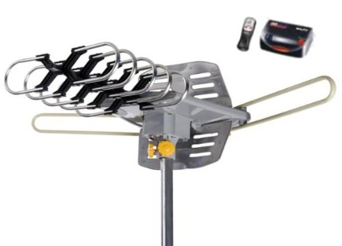 Super Amplified Outdoor Remote Controlled HDTV Antenna UHF/VHF FM Radio 360 Degree Motorized Rotation Kit with 75ft RG6 and clips Works UP TO 2 TV's- PREMIUM FLAGSHIP MODEL!