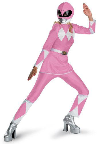 Adult Costumes Deluxe Rangers Pink Ranger Power (Disguise Unisex Adult Deluxe Power Ranger, Pink/White, Large (12-14))
