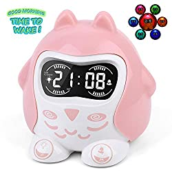 Mesqool Kids Alarm Clock, White Noise Machine with Soothing Lullaby for Toddler Sleep Training, 7 Color Night Light, Nap Timer, Snooze, DST, Battery Operated, 12/24H, Pink Owl for Girls, Bedroom.