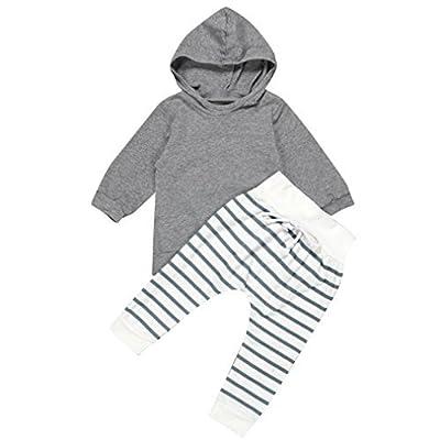 A-goo nouveau-né Unisexe bébé Manteau à capuche TOPS + Pantalon rayé Legging tenues bébé garçon fille TOPS Pantalon Vêtements 1Définit