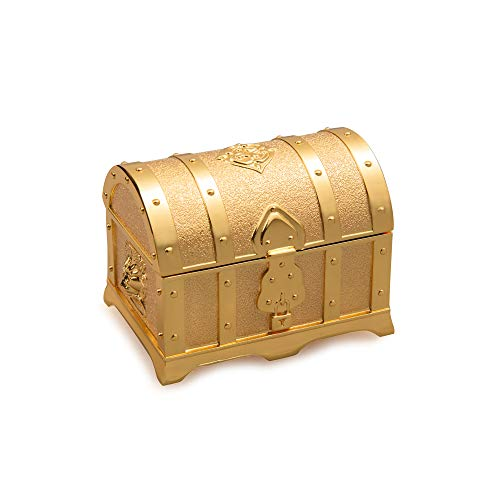 - Feyarl Retro Light Gold Box Jewelry Trinket Treasure Box Rectangle Box Metallic Finished Box (Small)
