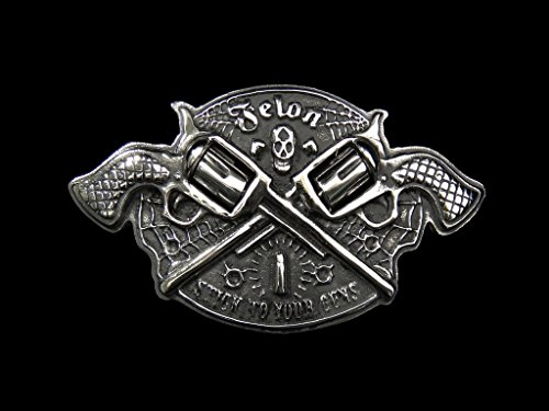 - Spinning MAGNUM Pistols SKULL 1% er Belt Buckle for Harley Biker Belt008
