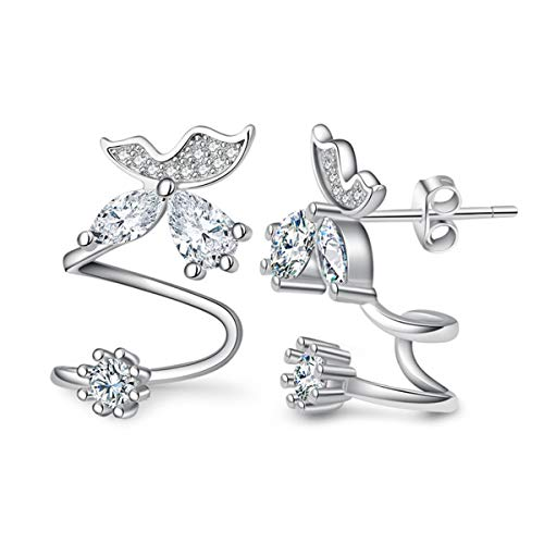 Set Stud Butterfly Earring (Orris Sterling Silver Fairy Style Diamond Butterfly Ear Cuff Wrap Clip Stud Set Earring (For Pierced Ear))