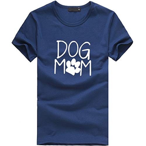 TWGONE Fashion Women's Loose Short-Sleeved Dog Mom Print T-Shirt Casual O-Neck Top(X-Large,Navy-b)