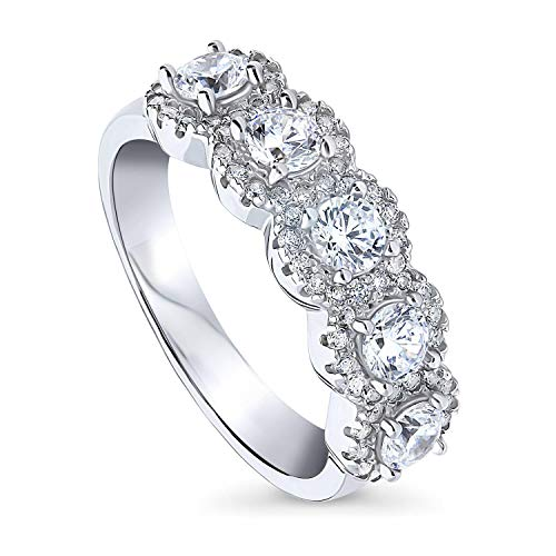 BERRICLE Rhodium Plated Sterling Silver Round Cubic Zirconia CZ 5-Stone Anniversary Wedding Band Size 6