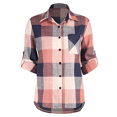 T Chemise Vichy Chemisier Shirt Boutonn Haut Shirt Longues Orange Boutons Sixcup Tartan Poche Top Devant Plaid Blouse Carreaux gqXx6tw