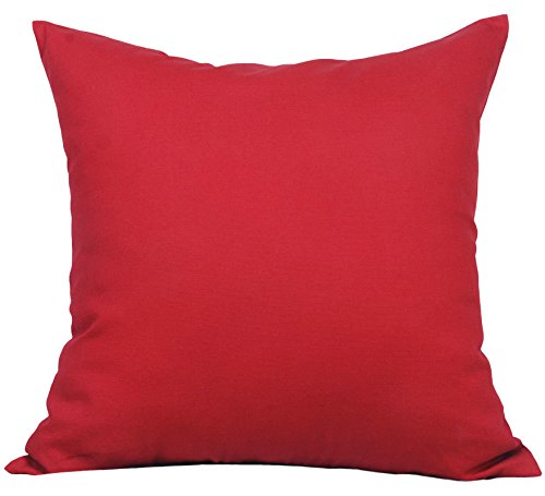 TangDepot Handmade Decorative Solid 100% Cotton Canvas Throw Pillow Covers /Pillow Shams, Many Colors available – (28×28, Christmas Red)