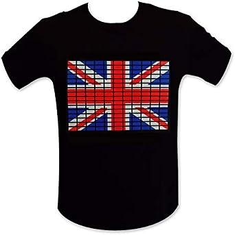 TotalCadeau Camiseta Brillante Bandera Inglés LED Ecualizador S