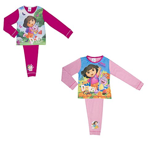 Cotton Dora (Cartoon Character Products 2 Pack Dora The Explorer Girls Pyjamas - 18 Months To 5 Yea - 2-3 years/98 cms)