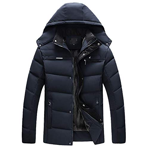 Allywit Men's Hooded Faux Fur Lined Quilted Winter Coats Jacket Warm Outwear Oversize by Allywit (Image #3)