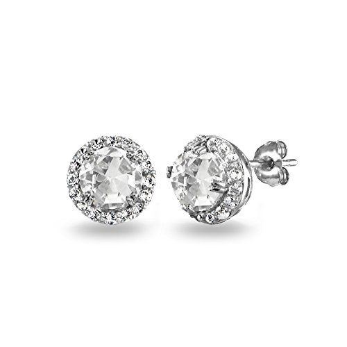 Sterling Silver Created White Sapphire Round Halo Stud Earrings ()