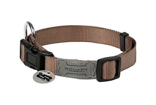 Wouapy Basic Line Collar for Dog, 25 mm Width, Neck Size 44/65 cm, Tan