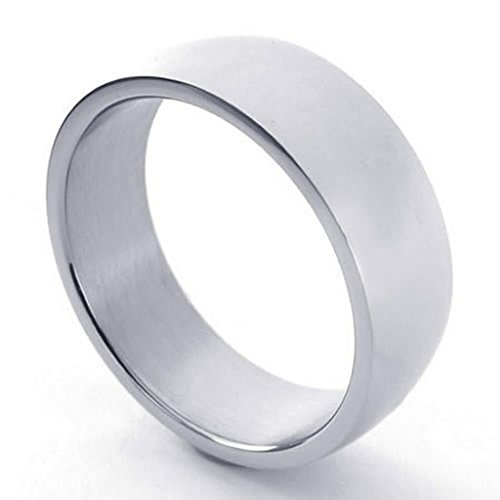 [Bishilin Stainless Steel Fashion Men's Rings Polishing Band Silver Size 8] (Female Ringmaster Costume Plus Size)