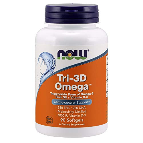 Now Supplements, Tri-3D OmegaTM, Triglyceride Form of Omega-3 Fish Oil + Vitamin D-3, Molecularly Distilled, 90 Softgels