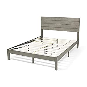 Apollo Queen Size Bed with Headboard, Natural and Gray Finish