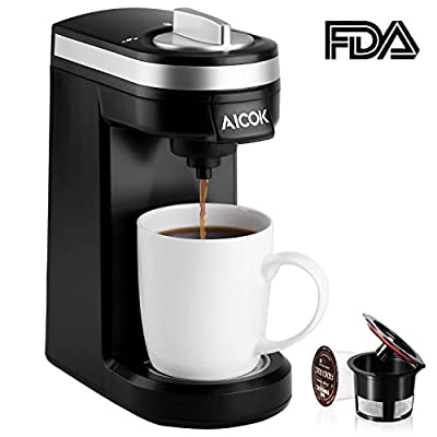 Aicok Single Serve Coffee Maker, Coffee Machine for Most Single Cup Pods including K-Cup Pods, Quick Brew Technology Travel One Cup Coffee Brewer from Aicok