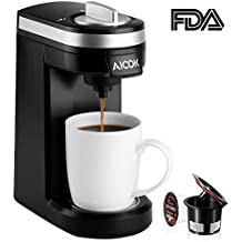 Aicok Single Serve Coffee Maker, Coffee Machine for Most Single Cup Pods including K-Cup Pods, Quick Brew Technology Travel One Cup Coffee Brewer