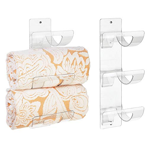mDesign Modern 3-Level Bathroom Wall Mount Towel Rack Holder & Organizer for Storage of Bath Towels, Washcloths, Hand Towels - Easy Mount, Hardware Included - 2 Pack - Clear